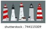 set of cartoon style flat... | Shutterstock .eps vector #744115309