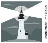 cartoon style flat lighthouse.... | Shutterstock .eps vector #744115321