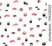 sushi japanese food vector... | Shutterstock .eps vector #744120325