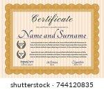 orange diploma. easy to print.... | Shutterstock .eps vector #744120835