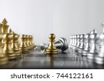 Small photo of Chess (pawn or chessman wins the game) on white background. Success, business strategy, tactics, win, victory, winner, intellect, defeat, beat, knock, checkmate, brave, fearless or think big concept.