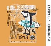 surf shark t shirt | Shutterstock .eps vector #744126595