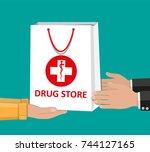 white shopping bag for medical... | Shutterstock .eps vector #744127165