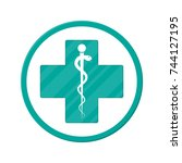 caduceus icon. symbol of... | Shutterstock .eps vector #744127195