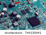 electronic circuit board close... | Shutterstock . vector #744130441