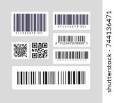 barcode label set sticker | Shutterstock .eps vector #744136471