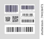barcode label set sticker | Shutterstock .eps vector #744136471