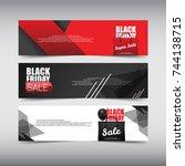 black friday sale design banner ... | Shutterstock .eps vector #744138715