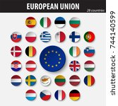 flags of european union and...   Shutterstock .eps vector #744140599