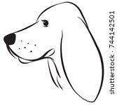 hound dog vector line art | Shutterstock .eps vector #744142501