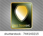 golden emblem with shield icon ... | Shutterstock .eps vector #744143215