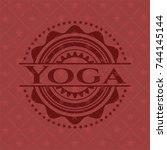 yoga retro red emblem   Shutterstock .eps vector #744145144