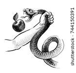 hand  apple and snake | Shutterstock . vector #744150391