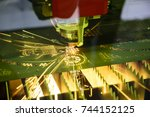 the fiber  laser cutting... | Shutterstock . vector #744152125