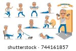 senior exercise of male.... | Shutterstock .eps vector #744161857