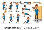 exercise man health male are... | Shutterstock .eps vector #744162274