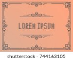 greeting card template art deco ... | Shutterstock .eps vector #744163105
