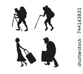 silhouette pictogram of people. ... | Shutterstock .eps vector #744163831