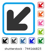 arrow down left icon. flat gray ... | Shutterstock .eps vector #744166825