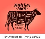 butcher shop  meat cut charts.... | Shutterstock .eps vector #744168439