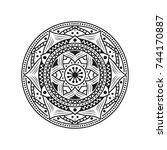 mandala flower vector  floral... | Shutterstock .eps vector #744170887