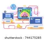 brain hard disk flat for... | Shutterstock .eps vector #744175285