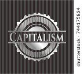 capitalism silvery shiny badge | Shutterstock .eps vector #744175834