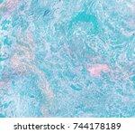hand drawn blue oil mix... | Shutterstock . vector #744178189