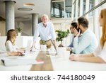 view at business people... | Shutterstock . vector #744180049
