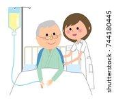 nurse hospitalized patient | Shutterstock .eps vector #744180445