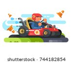 man riding karting design flat. ... | Shutterstock .eps vector #744182854
