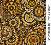 seamless pattern tile with... | Shutterstock .eps vector #744184504