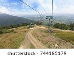 the mountain lift carries... | Shutterstock . vector #744185179