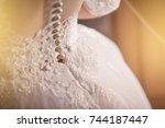 wedding dress of bride  bridal... | Shutterstock . vector #744187447