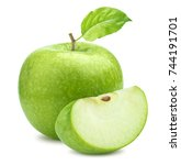 one green apple and quarter... | Shutterstock . vector #744191701