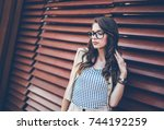 young attractive woman with... | Shutterstock . vector #744192259