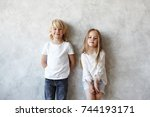 childhood  sweet relationship ... | Shutterstock . vector #744193171