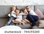 cozy sweet shot of four... | Shutterstock . vector #744193285