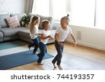 action freeze shot of three... | Shutterstock . vector #744193357
