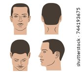 man hairstyle head set  front ... | Shutterstock .eps vector #744193675