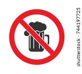 forbidden sign with beer mug... | Shutterstock .eps vector #744197725