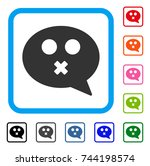 mute smiley message icon. flat...