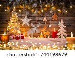 christmas decoration on wooden... | Shutterstock . vector #744198679