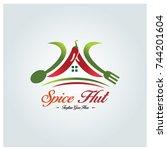spice hut logo design template. ... | Shutterstock .eps vector #744201604
