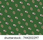 christmas pattern with... | Shutterstock . vector #744202297