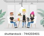 restaurant visitors. lunch time.... | Shutterstock .eps vector #744203401