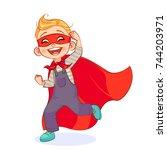 funny boy in super hero costume ... | Shutterstock .eps vector #744203971