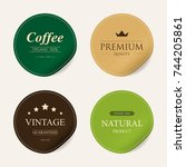 natural label and organic label ... | Shutterstock .eps vector #744205861