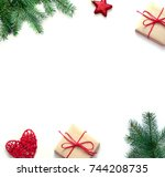 christmas composition.... | Shutterstock . vector #744208735