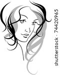 vector face of a beauty girl | Shutterstock .eps vector #74420965